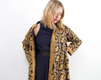 vintage 1960s silk embroidered duster jacket | S-L