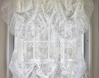 2 White Lace Balloon Curtain And Valance Sets, Ruffled Scroll Floral Rose  Lace Semi Sheer