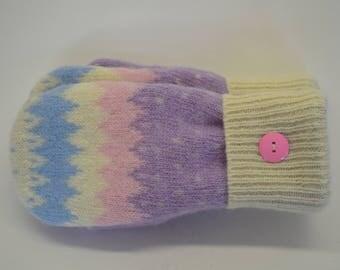 Wool Felted Sweater Mittens /  PINK, PURPLE & BLUE Mittens / Sweater Mittens / Wool Mittens / Lined With Fleece / Handmade