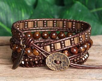 Gemstone Seed Bead and Tila Beaded Leather Bracelet, Bohemian Triple Wrap, Bronzite Bracelet, Bronze Tila Bead Wrap, Artisan Jewelry