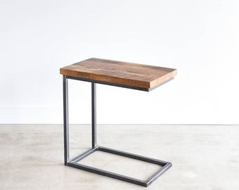 Box Frame Side Table Made From Reclaimed Wood / Metal C Base