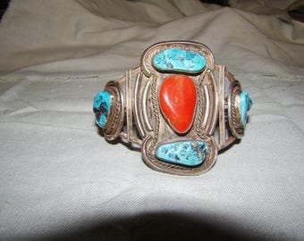 1-N Native American Stamped Sterling Turquoise and Coral Bracelet