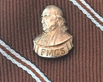 Sterling Silver Benjamin Franklin Tie Tack, FMCS Founding Father Men's Accessory, Inventor Tie Pin, Franklin Mint Collectors Society