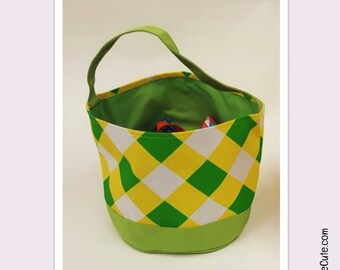 Large Personalized Easter Basket for Easter Egg Hunting or Gifting. Easter Basket with Cute Argyle Design - Lime, Yellow & White