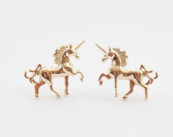 Gold Unicorn Earrings, Unicorn Jewelry, Unicorn Gifts, Unicorn Stud Earrings, Gold Unicorn Studs, Golde Stud Earrings, Magical Unicorn Studs