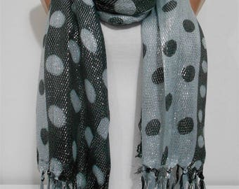 Sparkle Metallic Gray Scarf Shawl Wrap Polka Dots Scarf Fashion Accessory Holiday Gift Christmas  For Women For Mom Cowl Scarf BLACK FRIDAY