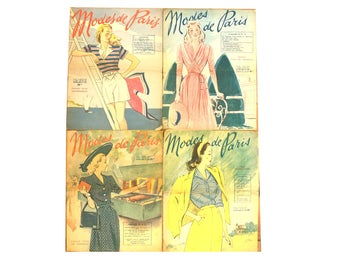 Modes de Paris, set of 4 French vintage May to July 1947 fashion magazines, catalogs for ordering dresses ans coats patterns
