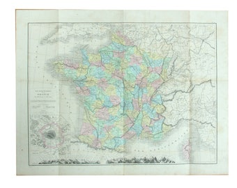 Antique map (ca. 1870s) of France - geography, departments and Paris area, original  print