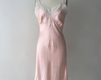 40s bias cut pink rayon satin slip with lace / XS / S