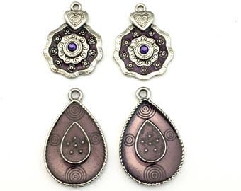 4 charms purple enamel and silver tone 29mm to 34mm #CH 070