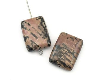 2 rhodonite stone beads/ 15mm x 20mm #PP348-3