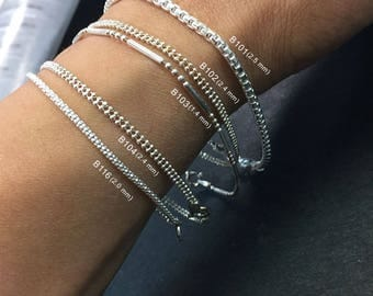 925 Solid Sterling Silver Chain Bracelet-Thinn chain bracelet-Italian Solid Sterling Silver Chains-Polished