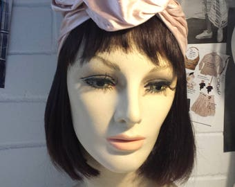 Silk Turban Pink Vintage Style 1940s 1950s Pin up Retro Millinery Hat