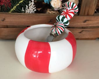 Vintage Christmas Dip Bowl And Spreader, Peppermint Candy Dip Bowl And Spreader