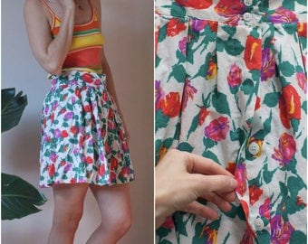 70s 80s Floral Cotton Full Mini Skirt // High-Waist Button Front Cheerleader Skirt w Pockets sz. L / 12