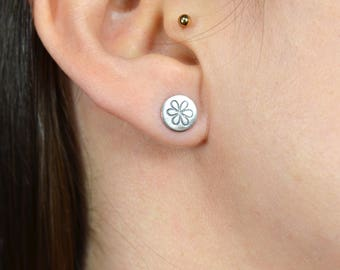 Flower Earrings - Sterling Silver Studs - Hand Stamped Jewellery - Dainty Flower Stud Earrings - Circle Studs - Minimal Earrings