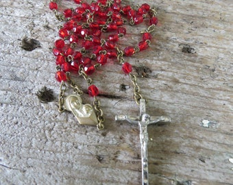 """Vintage Red Rosary - Red Glass Beads with Silver Tone Cross/Crucifix & Center 19"""""""