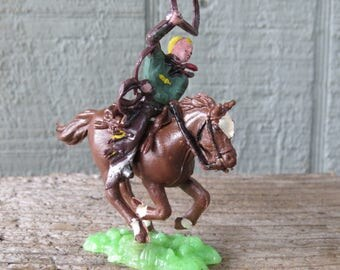 """Vintage Cowboy Cake Topper- Cowboy with Lasso on Horse Made in Hong Kong 3 1/2"""""""