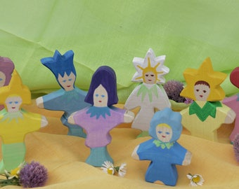 Flower Children, Nature Table, Wooden Toys, Wood, Deco, Story Telling