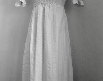 70's Maxi Dress Wedding Prairie Boho Hippie Lace Ecru Puffy Sleeves Empire Waist Renaissance Dress