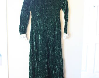 vintage crushed emerald green velvet cream lace maxi dress *