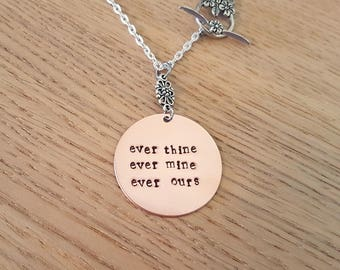 in Australia - Ever thine Ever mine Ever ours - Hand stamped copper necklace - sex and the city romantic unusual gift Carrie Bradshaw