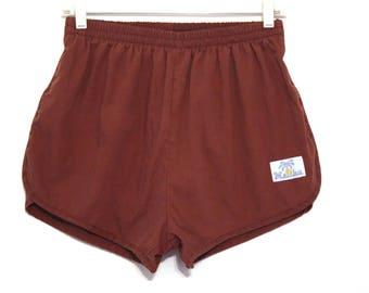 Vintage 80s swim trunks shorts brown Malibu California