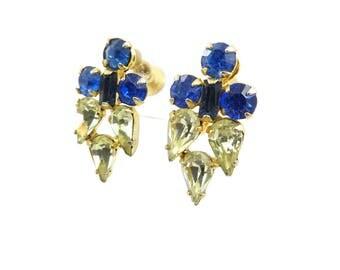 Vintage Blue Green Earrings, Rhinestones, Screw Backs