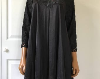 Blanche by Erika McGowan Size S Black Chiffon Nightgown Peignoir Size S