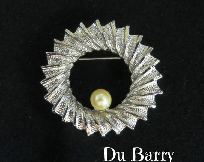 DuBarry Circle Brooch, Vintage Silver Tone Ridged Faux Pearl Circle Pin, Gift for Her