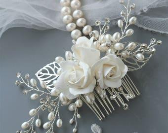 Rose hair comb Bridal hair comb Rose Wedding hair comb Bridal hair flower Bridal headpiece Bridal hair accessories Wedding hair accessories