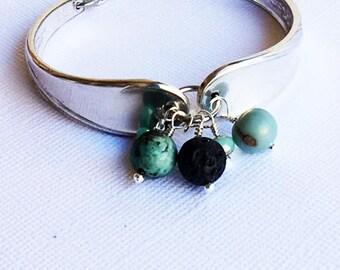 Vintage Silverware Bracelet - Spring Flower - Recycled Jewelry - Lava Stone