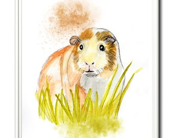 Guinea pig, wall art, home decor, limited edition print. From an original painting by Paula Jeffery. Art print. Nursery print.