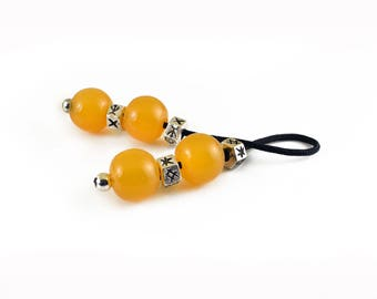 Begleri, Worry Beads, Yellow Synthetic Resin & Silver Tone Metal Beads