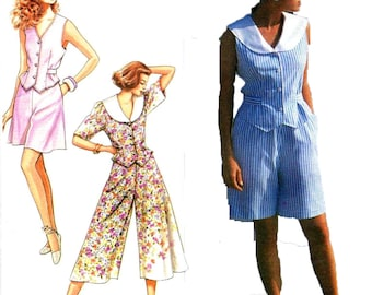 Sewing Pattern Vintage 1990s Misses' Or Miss Petite Top, Culottes In Two Lengths Simplicity 7178