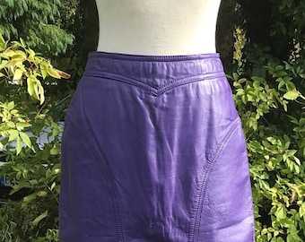 1980s Purple Leather Lined Pencil Skirt