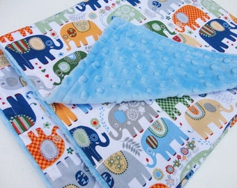 Elephant Minky Baby Blanket - Made to Order