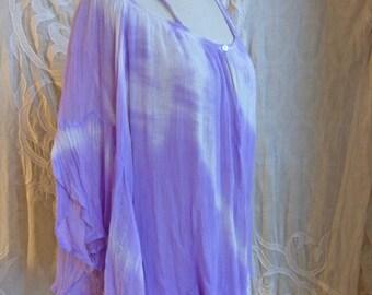 Purple Gauze Cotton Peasant Top