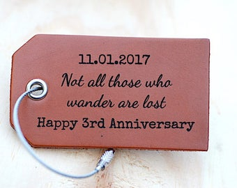 Third Anniversary Leather Travel Tag, New Husband Wife Gift, Not All Those Who Wander Are Lost, Personalized Anniversary Gift, Luggage Tag