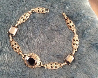 Bracelet Art Deco Ornate Hematite and Marcasite Sterling Statement Collectible