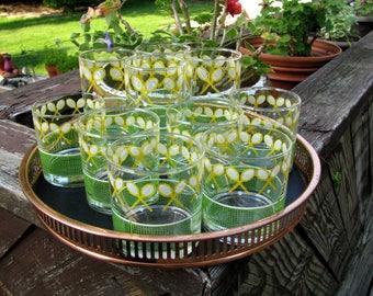 J Scott Tennis Glasses 10 Vintage Libbey Tennis Racquet Glass 6 Lowball Rocks 4 Highball Drinking Glasses Retro Bar Glassware Barware MINT!