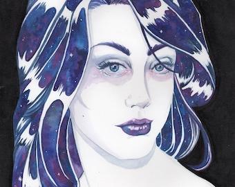 "8.5x11"" Watercolor Print ""Stars In Her Eyes"" Painting Wall Art Galaxy Stars Purple Blue"