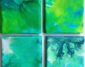 Green Hand Dyed Fabric, Green Cotton Fat Quarter, Watercolor Fabric, Wabi Sabi Fabric, Low Immersion Fabric