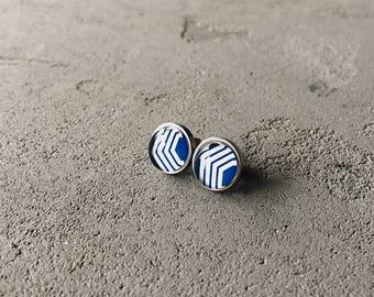 Geometry print earrings (blue, white) by CuteBirdie