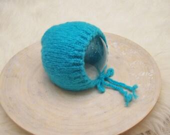 Knit Newborn Hat, Aqua Blue, Newborn Hat, Baby Bonnet, Newborn Bonnet, Classic Bonnet, Newborn Photo Props, Baby Props, Knitted Hat, Prop