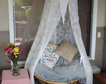 lace enveloped meditation tent, floral lace bed Canopy, white wedding tent, boho tent, photo prop tent