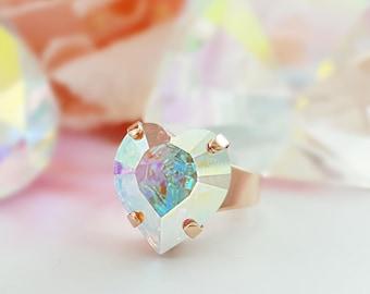 Rose Gold Heart Ring, Swarovski Ring, Pink Gold Ring, Cinderella Ring,  Mermaid Ring, Blush Pink Ring, Chunky Ring, Big Crystal Ring, R4002