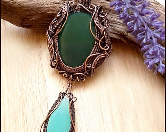 Emerald forest wire wrapped copper pendant
