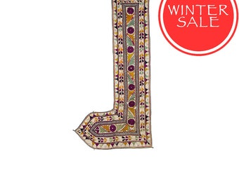 WINTER SALE - Vintage Textile - Vintage Sankhia with mango leaf design on cotton.