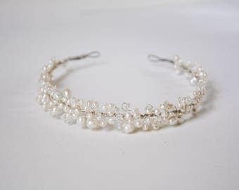 pearl headband, bridal headpiece, wedding headband, wedding headpiece, pearl headpiece, pearl bridal hair accessories, bridal tiara - LEAH